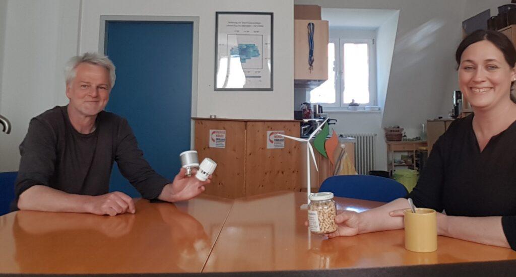 Andreas Scharli und Bundestagskandidatin Birgit Obermaier im Gespräch über die Engergiewende